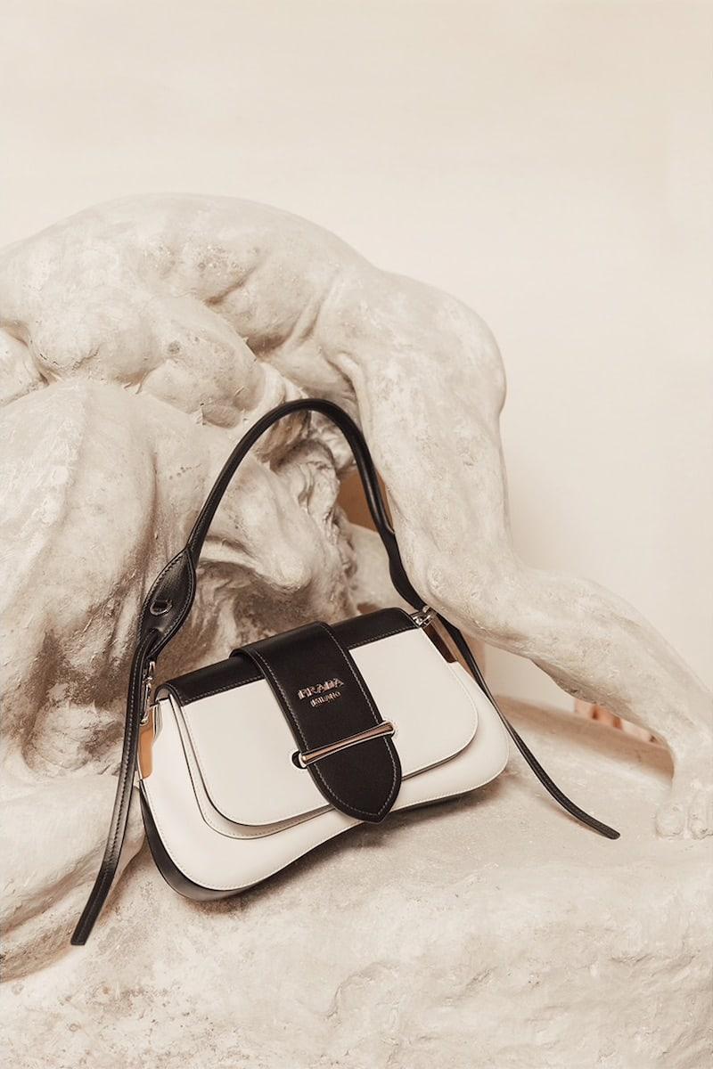 Prada Cahier Sella City Leather Shoulder Bag