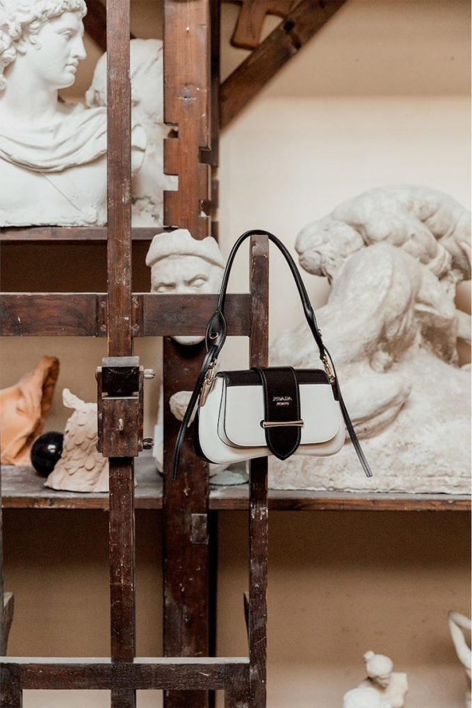 Prada Cahier Sella City Leather Shoulder Bag 1
