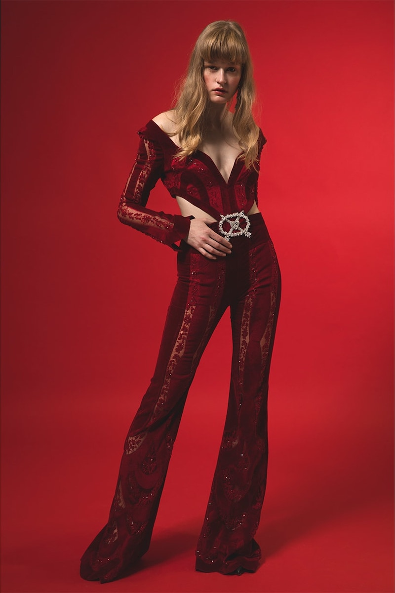 Raisa & Vanessa Long Cut Out Silk Velvet & Lace Jumpsuit