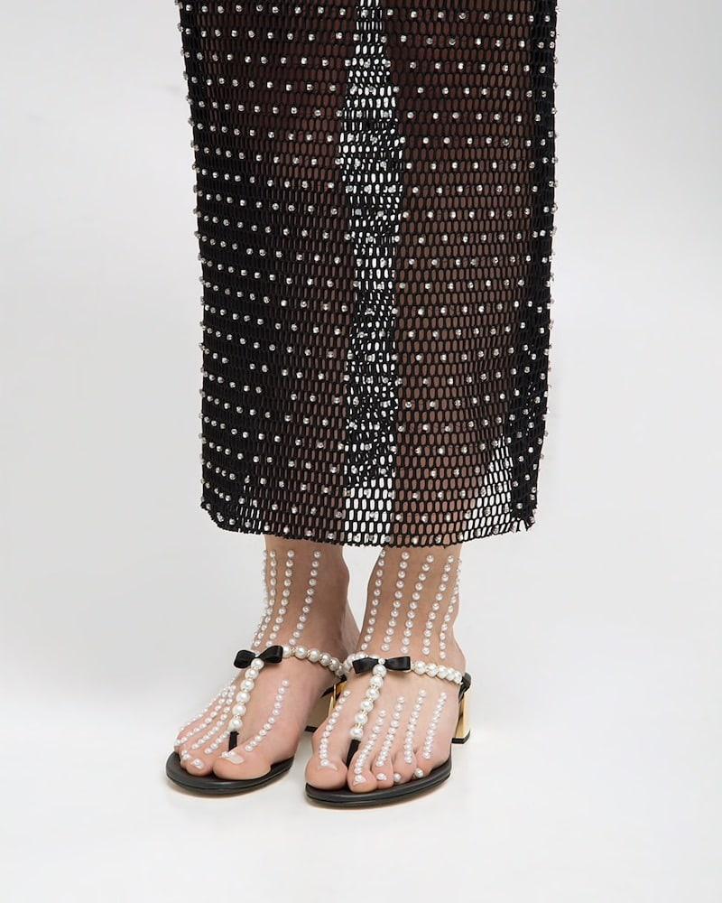 René Caovilla 40mm Swarovski Pearl Sandals W/ Bow