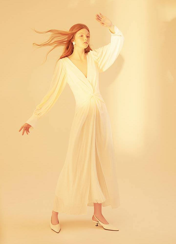 Self-Portrait Knotted and Pleated Jersey Long Dress