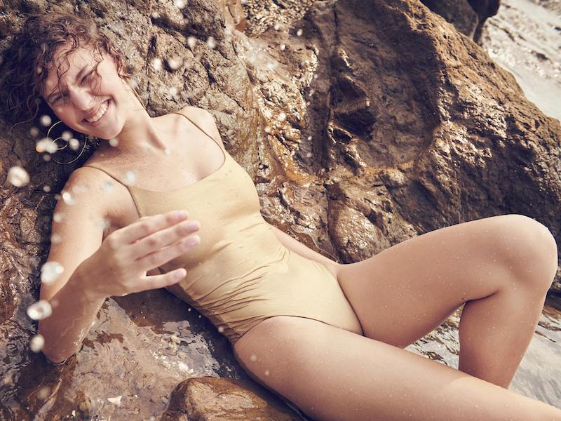Skin The Sloane Metallic Swimsuit