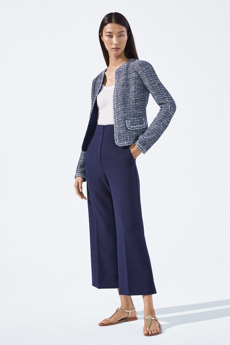 St. John Collection Bella Double-Weave Cropped Flare-Leg Pants