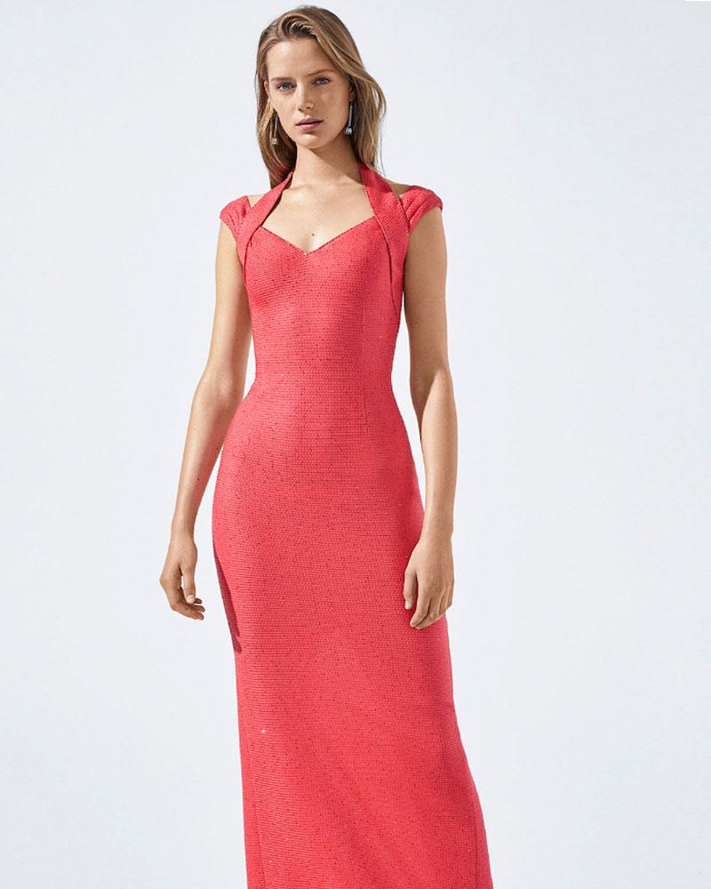 St. John Collection Links Sequin Knit Drape Halter Column Gown