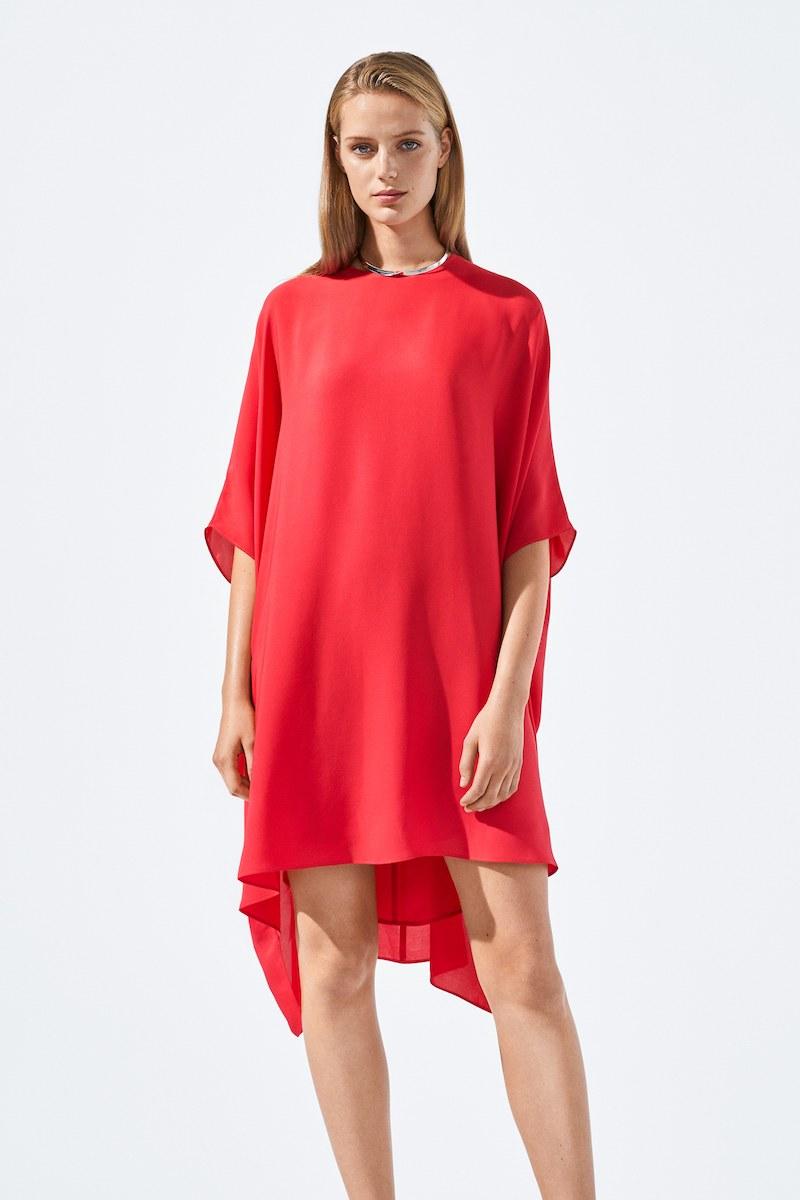 St. John Collection Scoop-Neck 3/4-Sleeve Draped Silk Georgette Dress