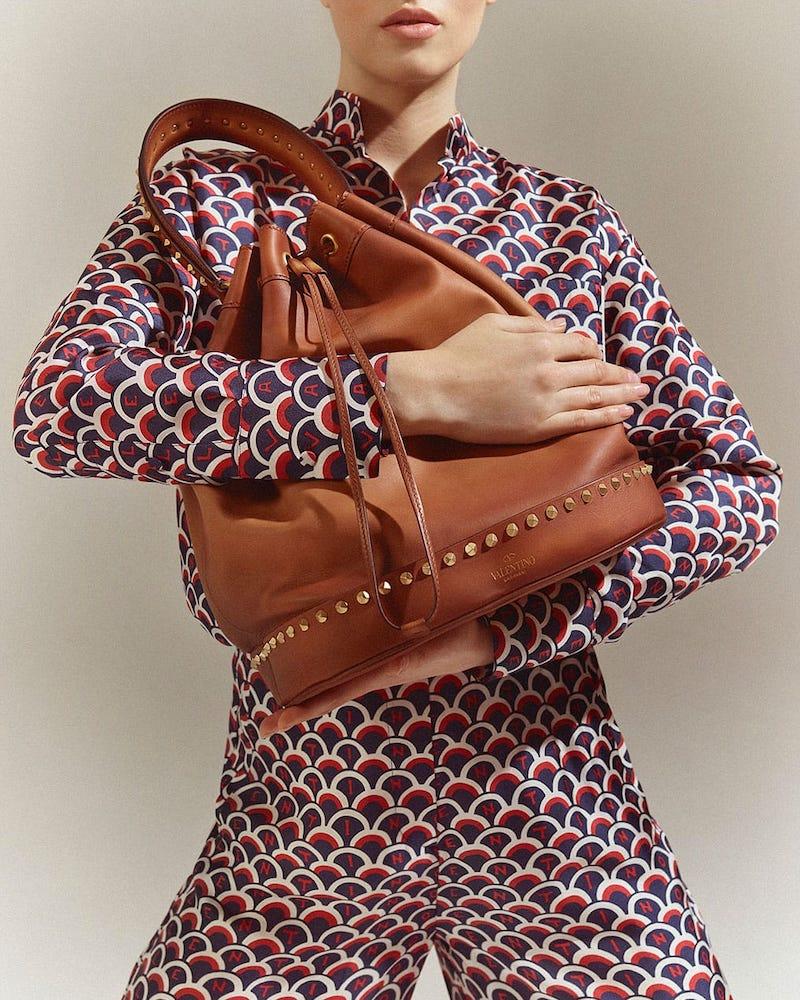 Valentino Twinkle Studs Drawstring Bucket Bag