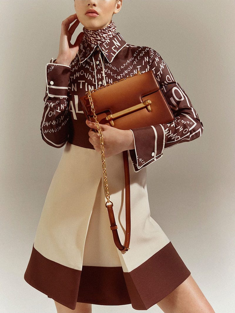 Valentino Uptown Small Leather Top-Handle Bag