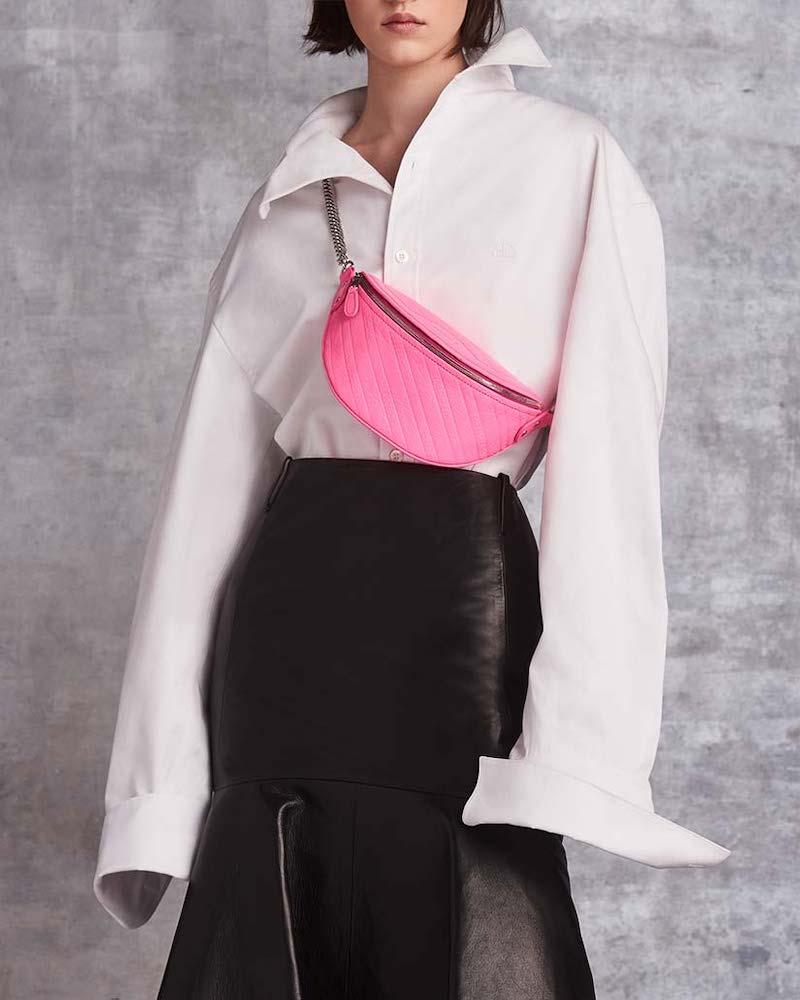 Balenciaga Flounce-Hem Leather Midi Skirt