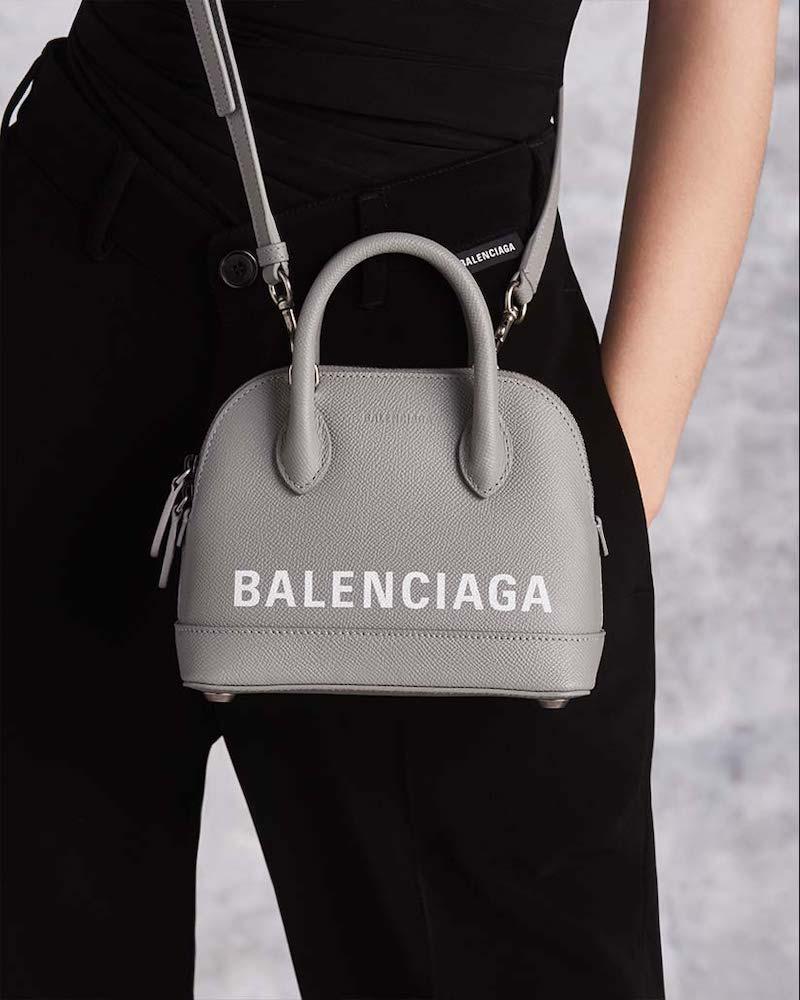 Balenciaga Ville Logo Leather Top Handle Bag