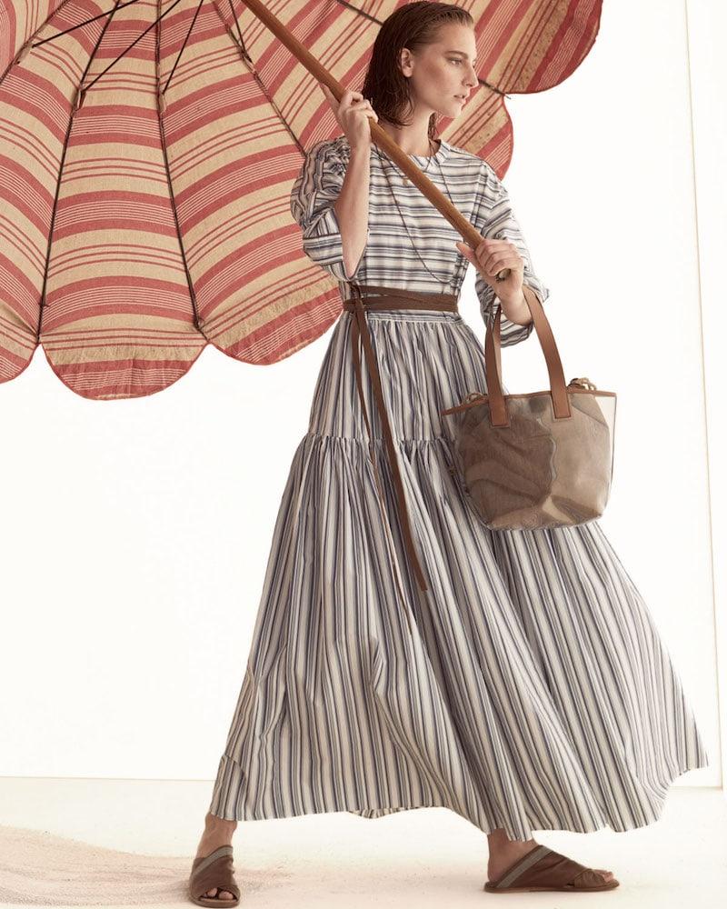 Brunello Cucinelli 3 4-Sleeve Striped Cotton Midi Dress
