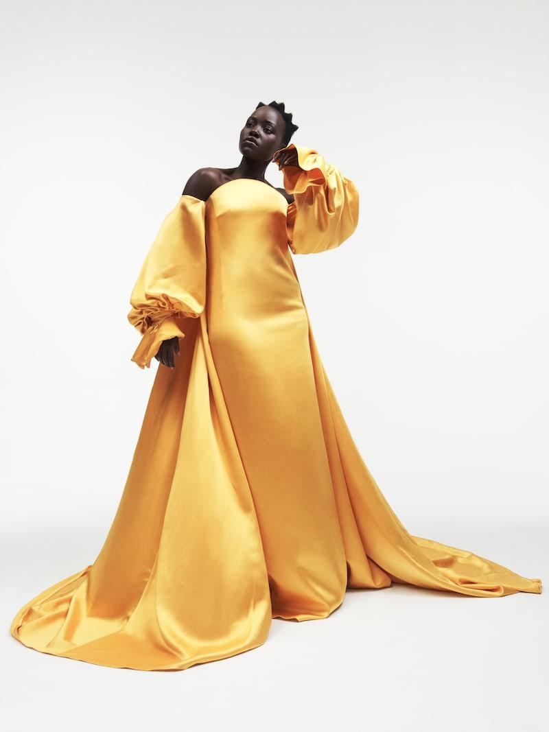 Carolina Herrera Off-the-Shoulder Satin Gown