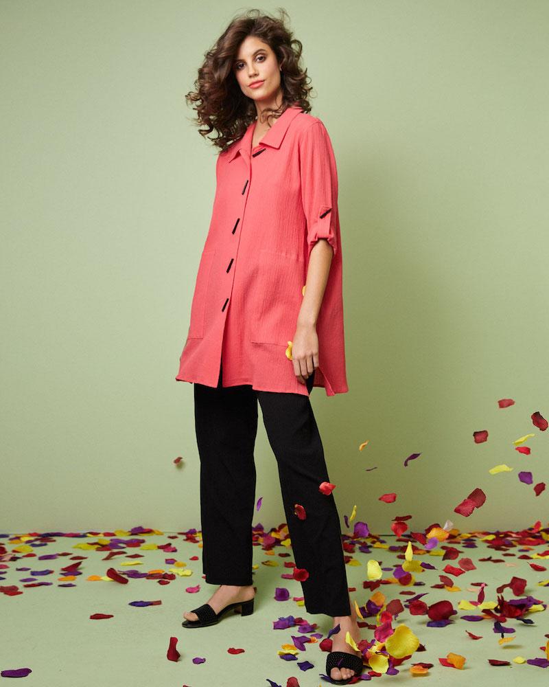 Caroline Rose Crinkle Cotton Button-Front Long Shirt