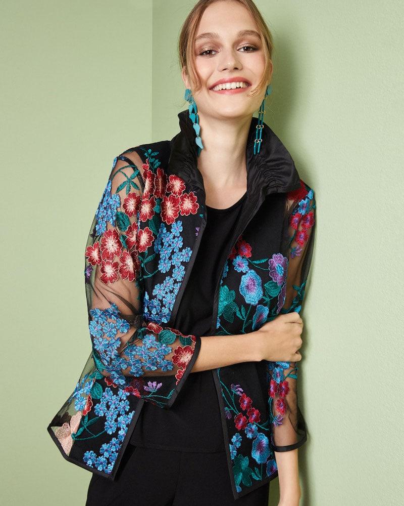 Caroline Rose Fresh Flower Embroidery Jacket