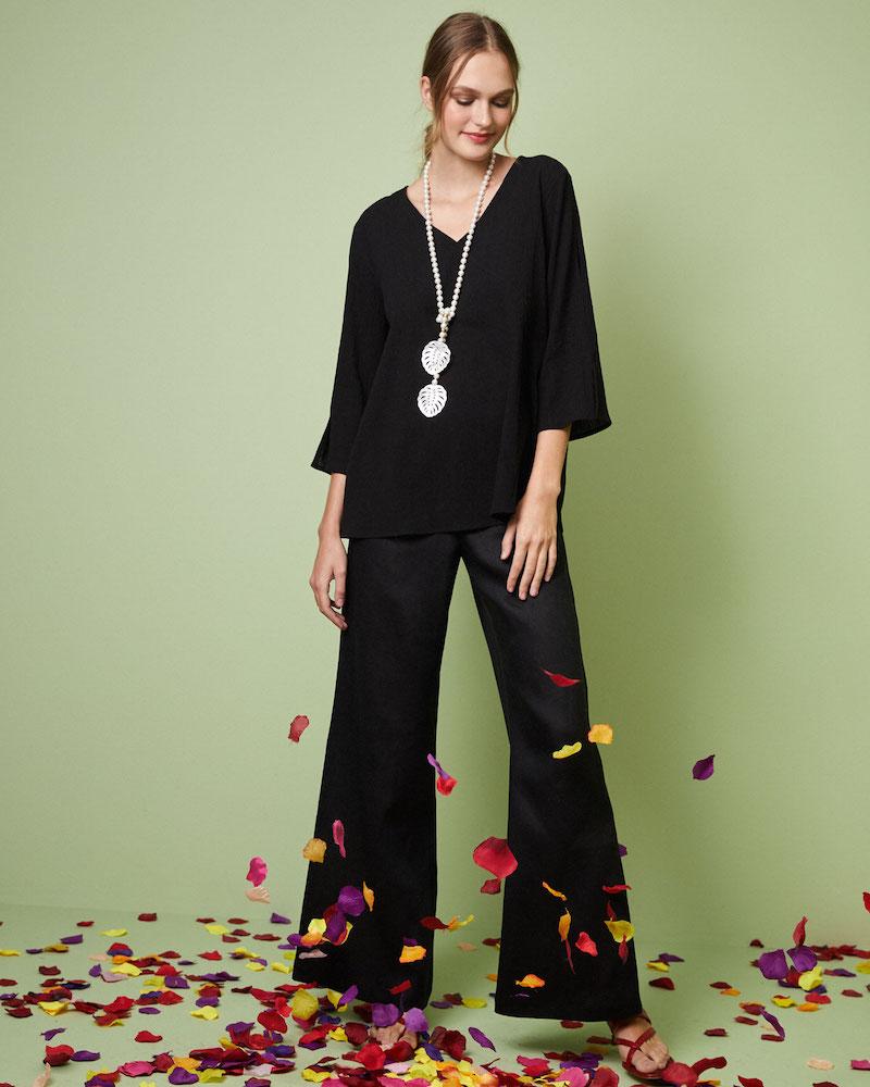 Caroline Rose Havana V-Neck 3 4-Sleeve Crinkle Cotton Top
