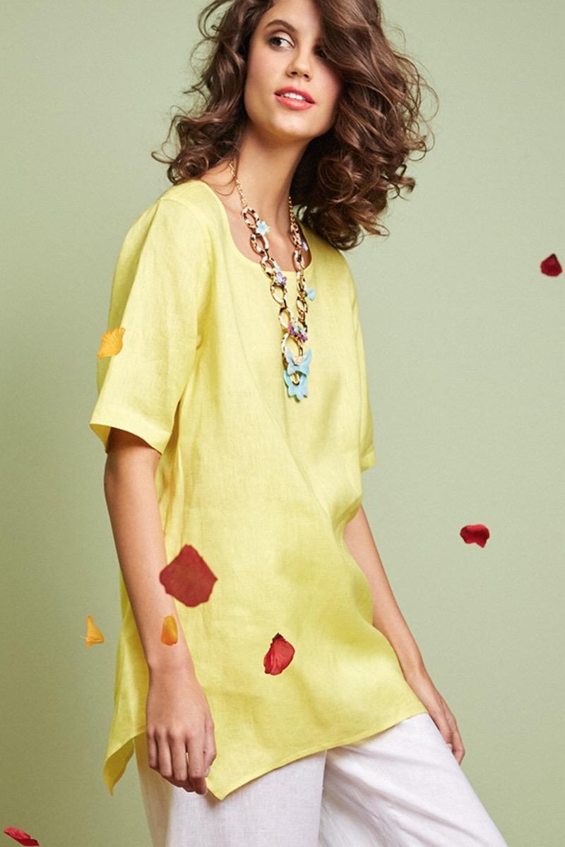 Caroline Rose Short-Sleeve Tissue-Linen Swing Tee