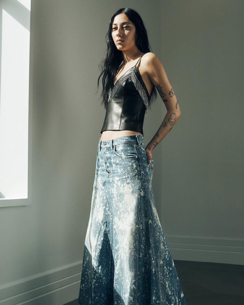 J Brand Denim Bermuda Shorts,Area Crystal-Fringed Leather Tank,Needles Bleached Denim Maxi Skirt
