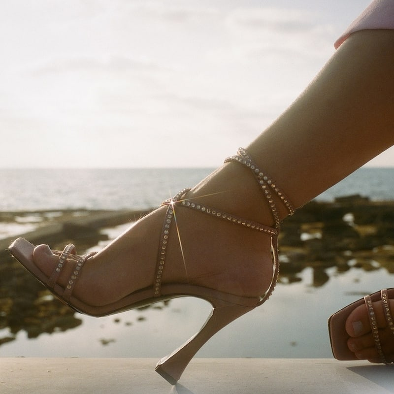 Les Petits Joueurs 100mm Camelia Satin Sandals with Crystals in Nude