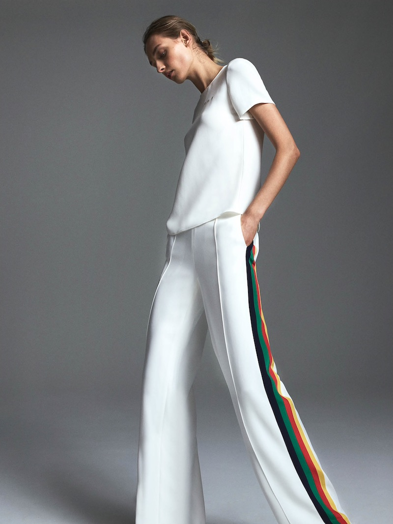 Lisa Perry Striped Crepe Wide-Leg Trousers