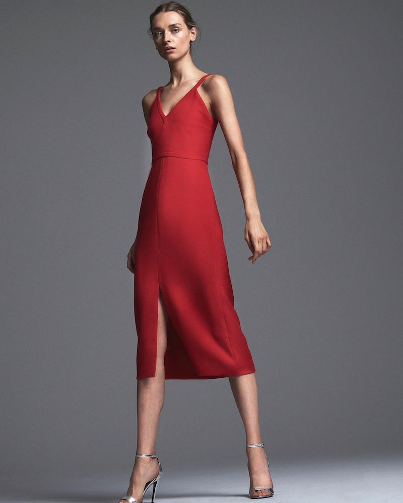 Lisa Perry Wool Crepe Sleeveless Dress