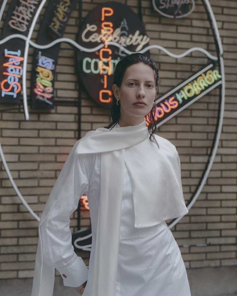 Loewe Sash-Neck Layered Cotton Midi Shirt Dress