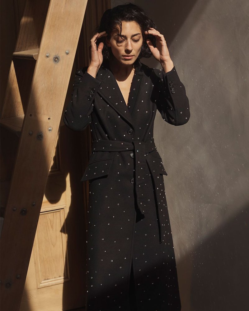 Miu Miu Crystal-Embellished Single-Breasted Wool Coat