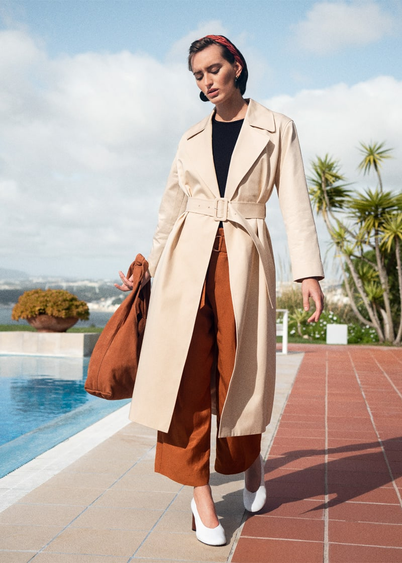 & Other Stories Belted Cotton Twill Trenchcoat