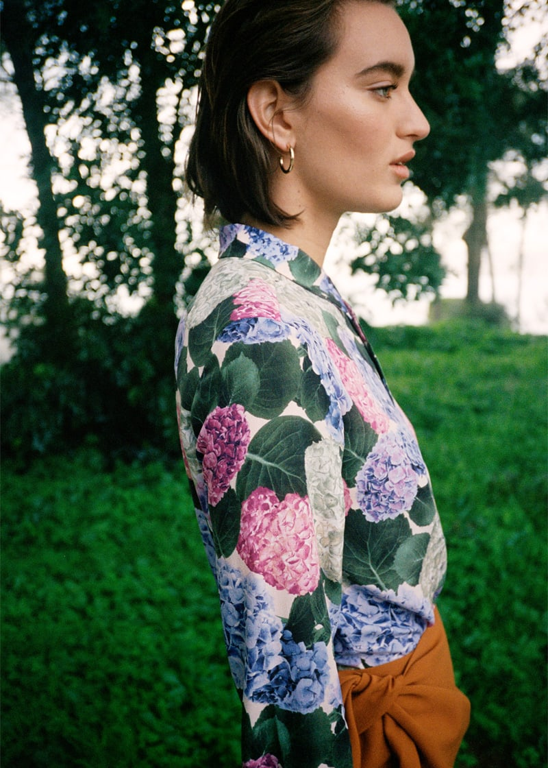 & Other Stories Floral Print Silk Shirt