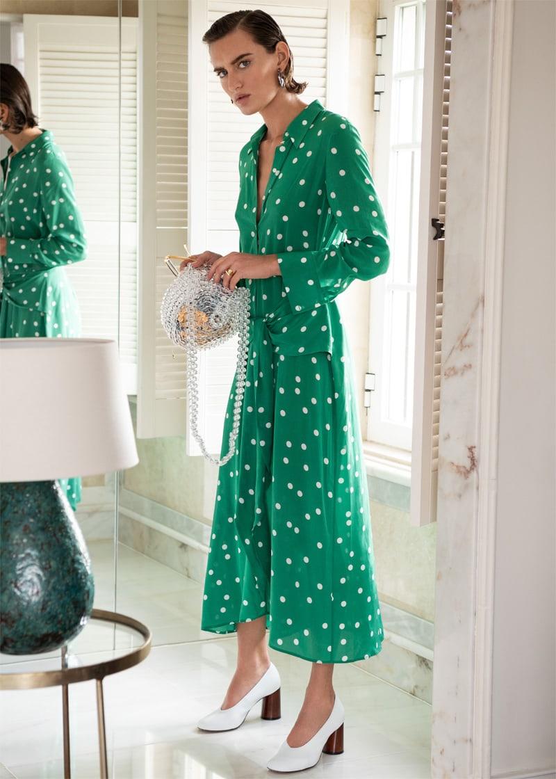 & Other Stories Polka Dot Waist Tie Midi Dress