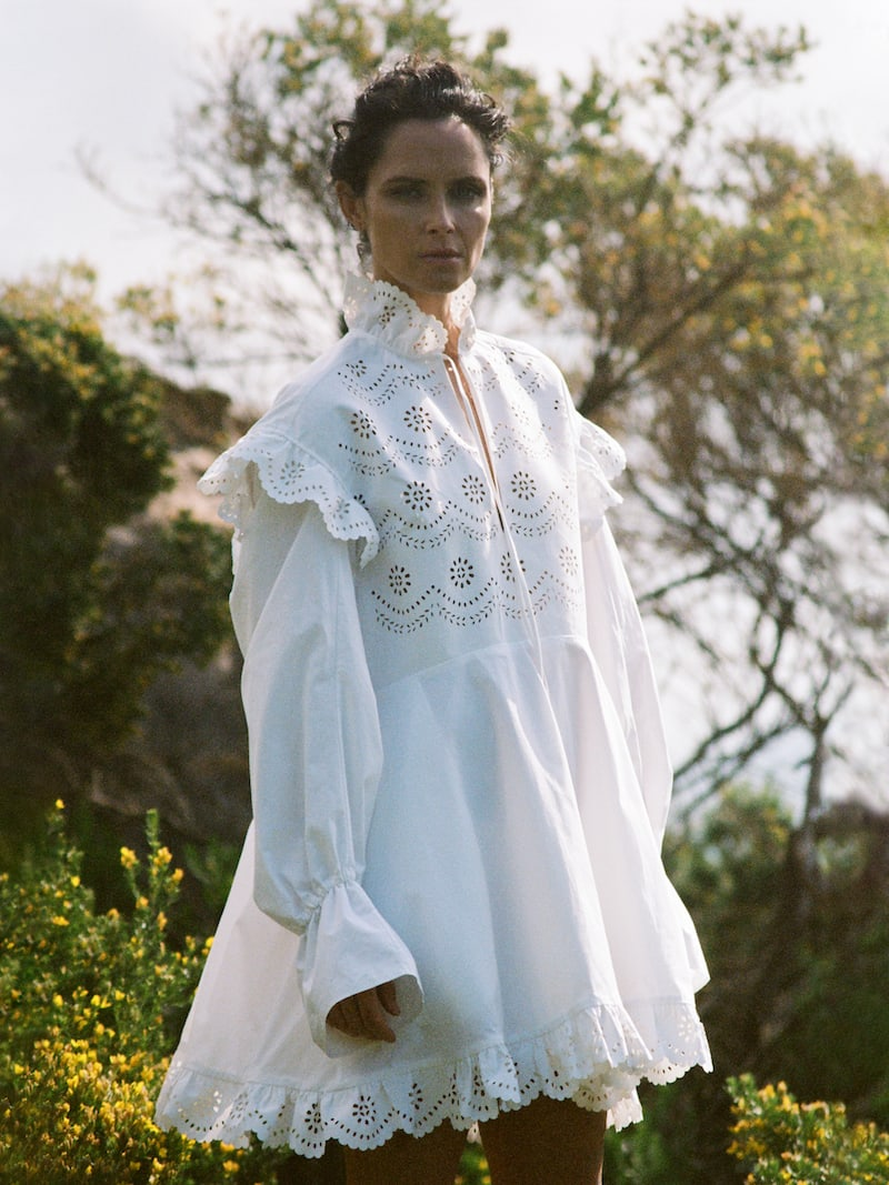 Philosophy di Lorenzo Serafini Ruffled Laser-Cut Cotton-Poplin Mini Dress