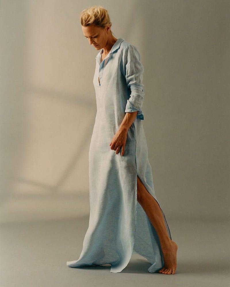 Pour Les Femmes Belted Linen Shirtdress