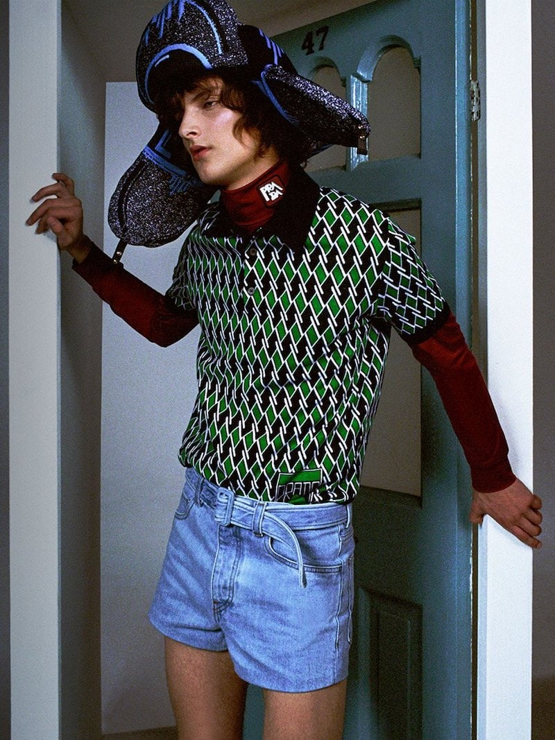 Prada Diamond Jacquard Virgin-Wool Polo Shirt