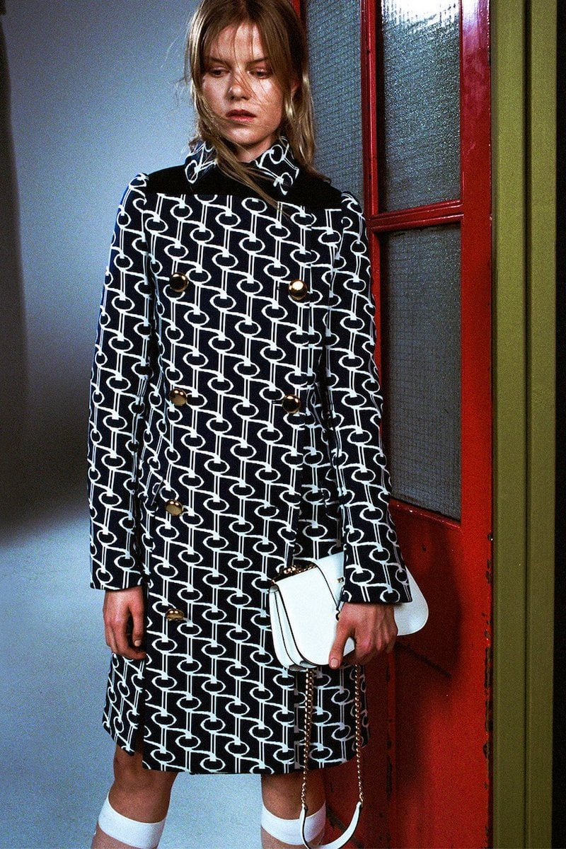 Prada Double-Breasted Key-Jacquard Coat