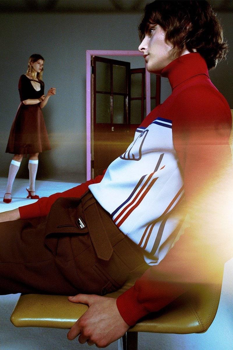 Prada Stripe-Jacquard Roll-Neck Sweater