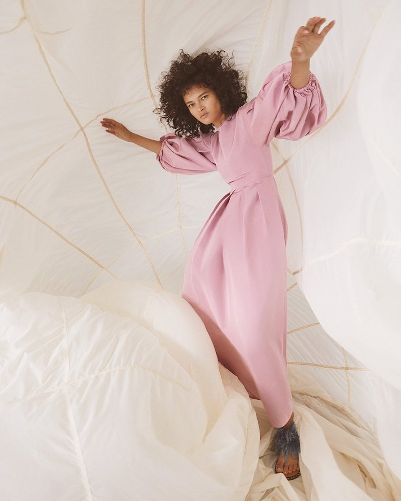 Valentino Gathered Balloon-Sleeve Cotton-Blend Poplin Dress