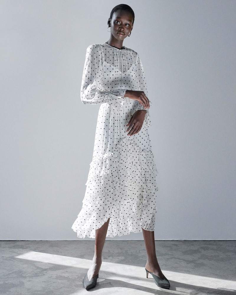 Zimmermann Embroidered-Polka-Dot Silk Chiffon High-Low Dress