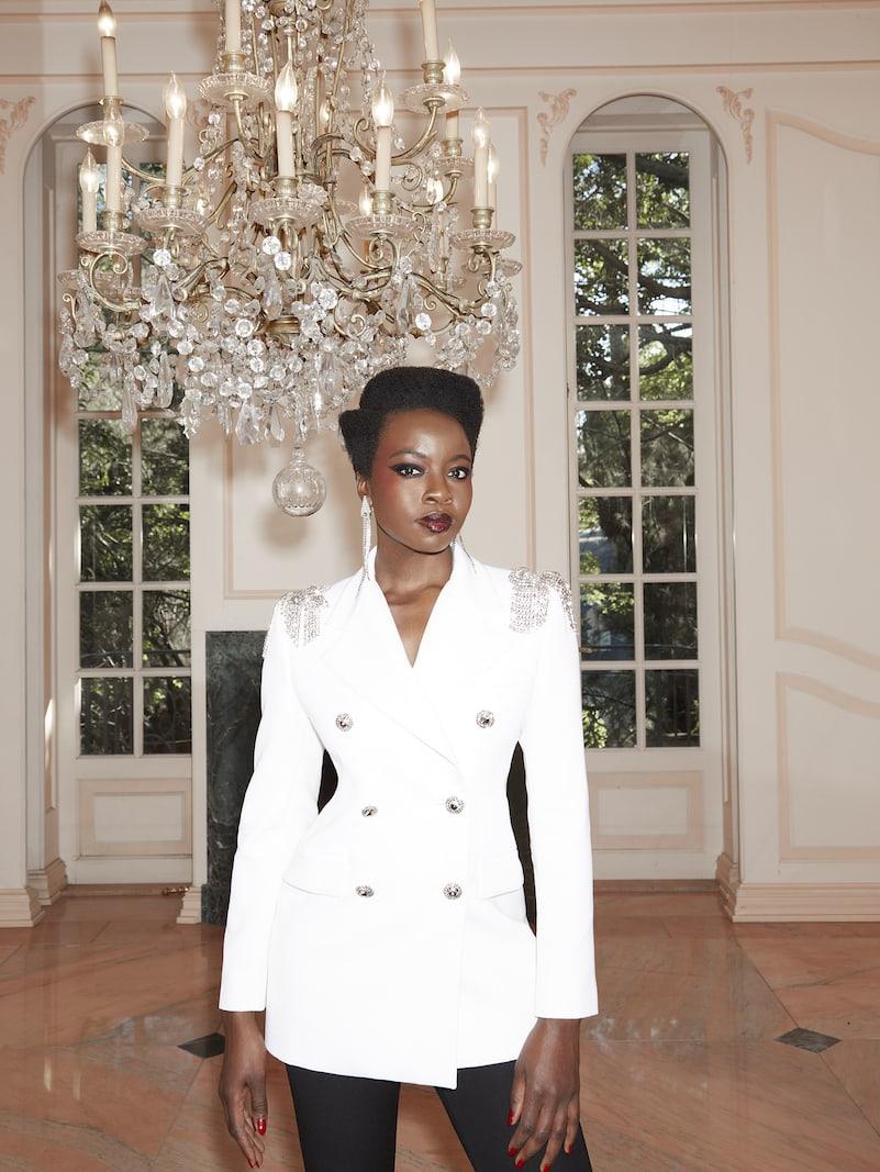 Alessandra Rich Crystal-Embellished Wool-Crepe Blazer