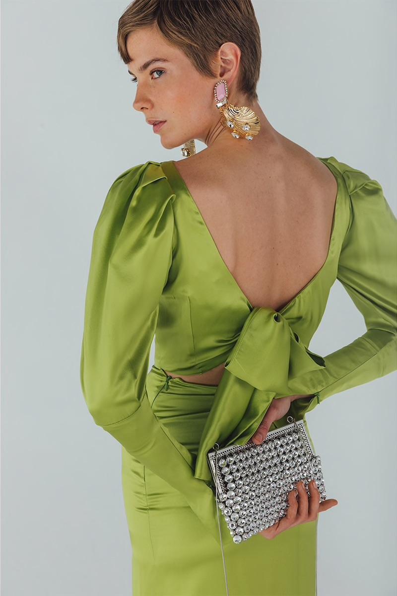 Alessandra Rich Crystal Net Evening Clutch
