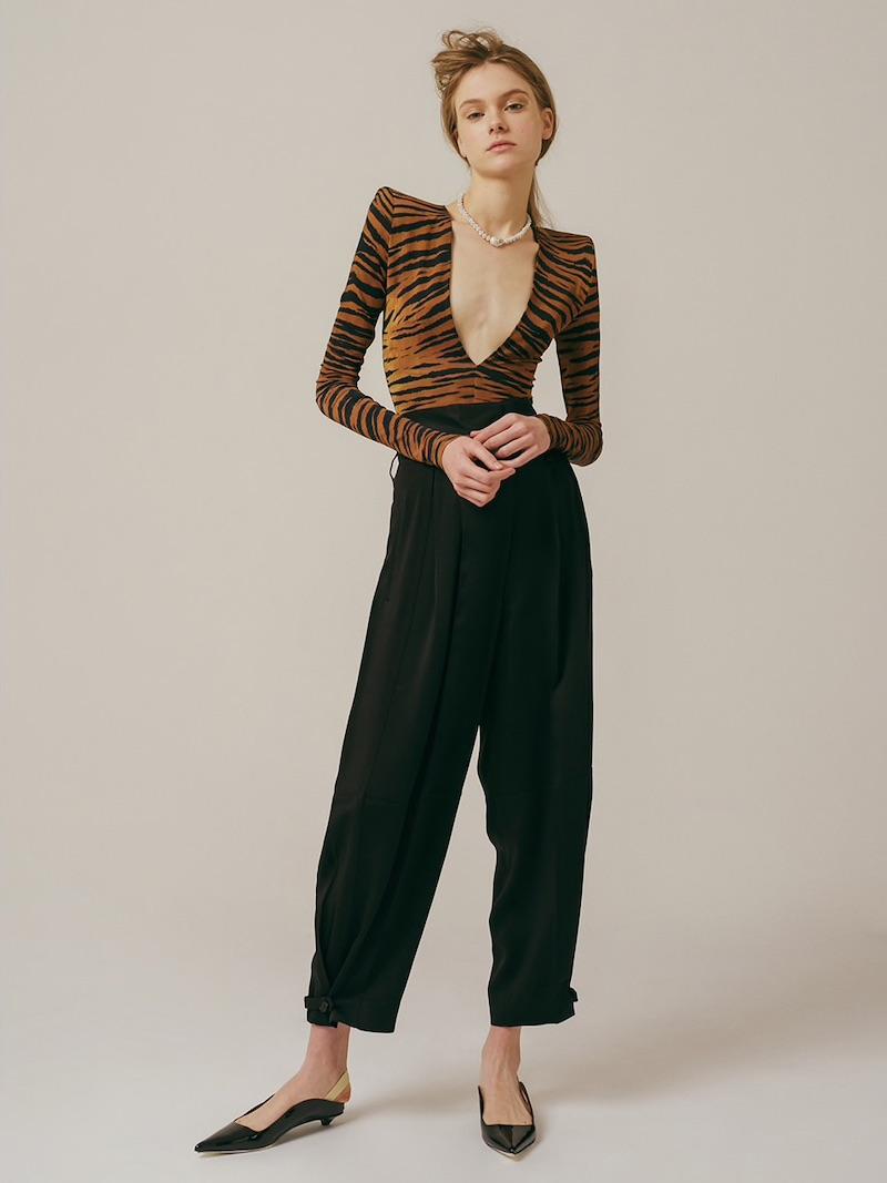 Alexandre Vauthier Printed V Neck Stretch Jersey Bodysuit