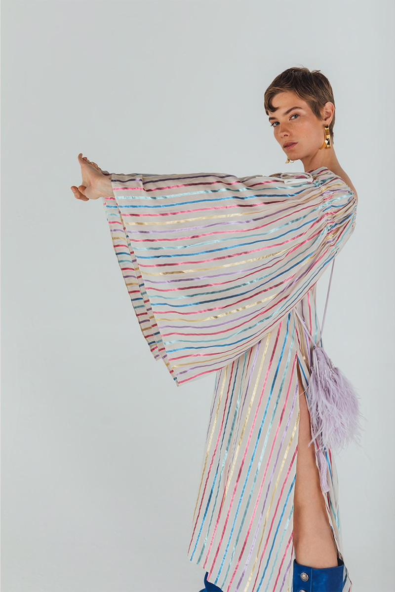 Attico Off-the-Shoulder Striped Lurex Dress