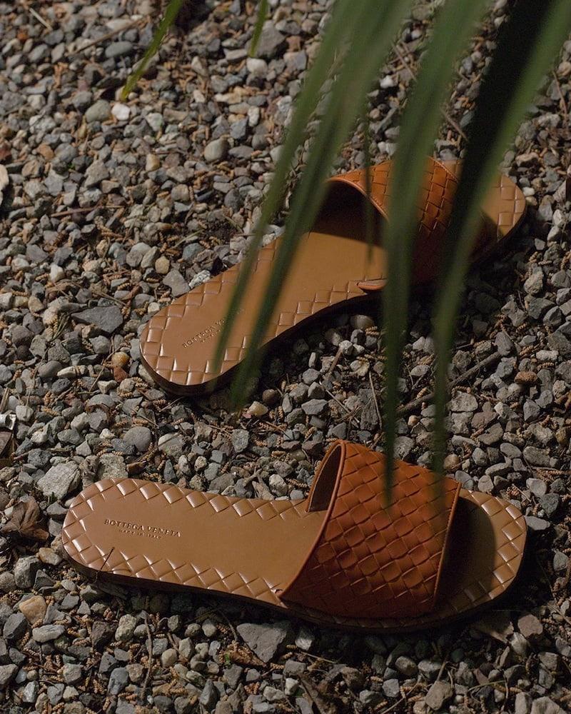 Bottega Veneta 10mm Ravello Intrecciato Leather Slides