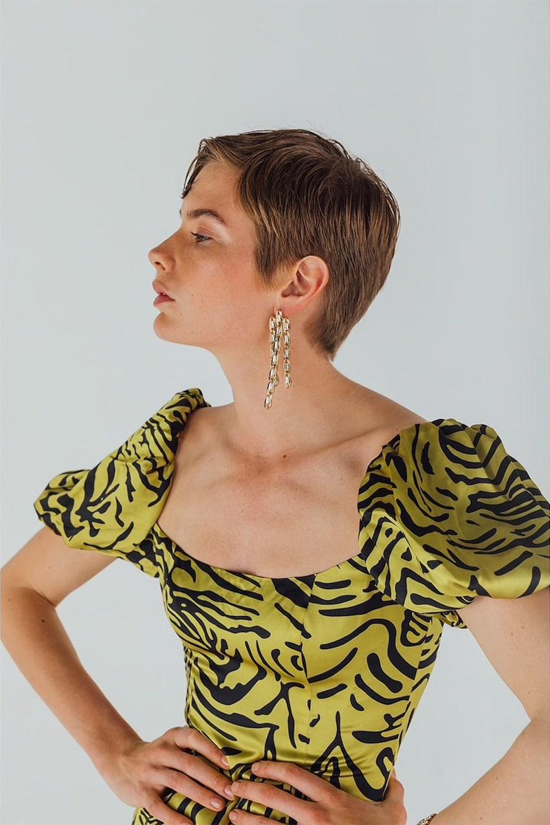 De La Vali Tiger Print Silk Satin Mini Dress