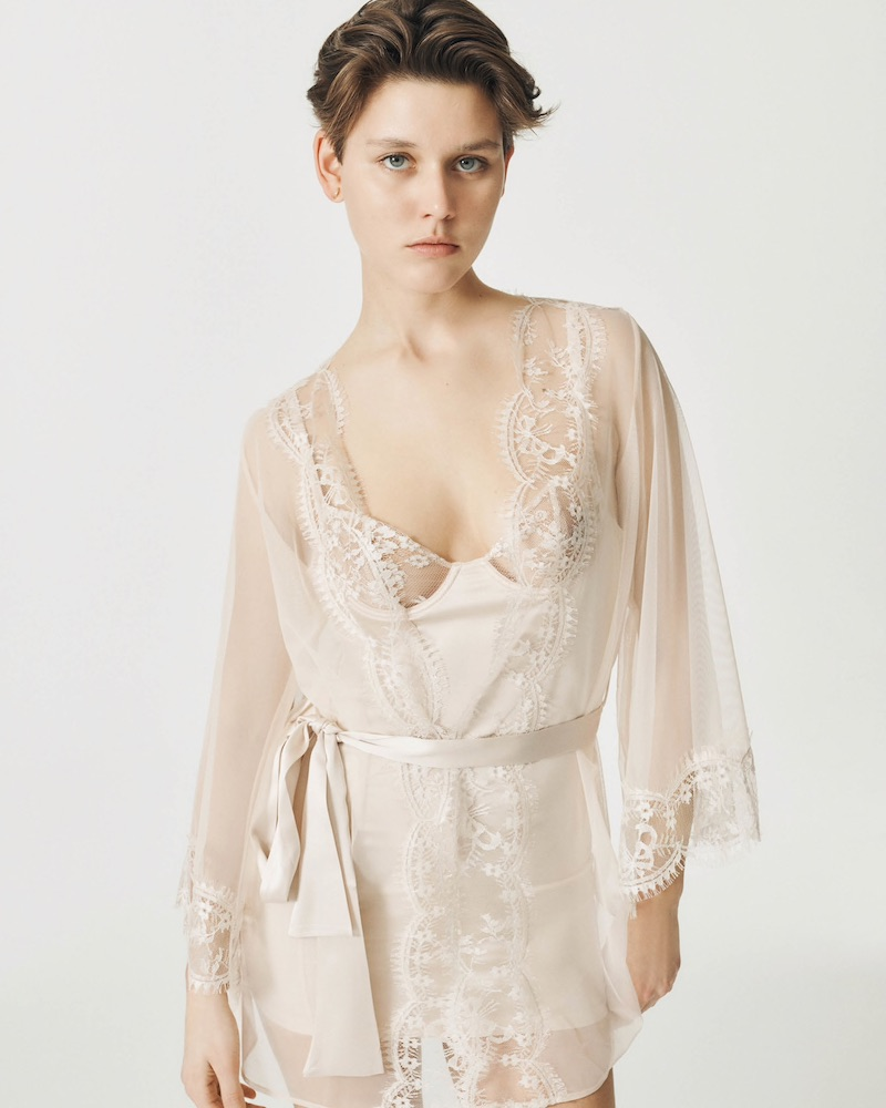 GILDA & PEARL Deshabille Lace-Trimmed Tulle Robe