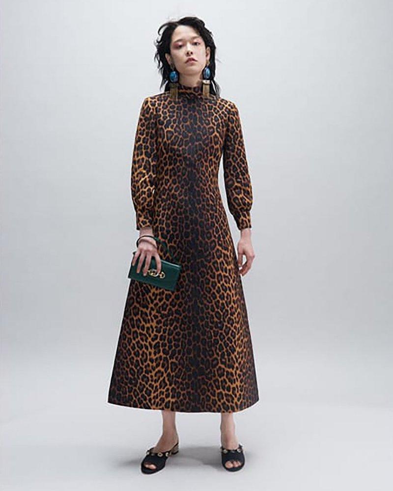 Gucci Leopard-Print Wool-Blend Dress