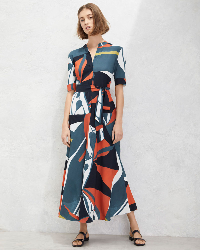 Lafayette 148 New York Augustina Artisan Abstract-Printed Short-Sleeve Crepe Dress