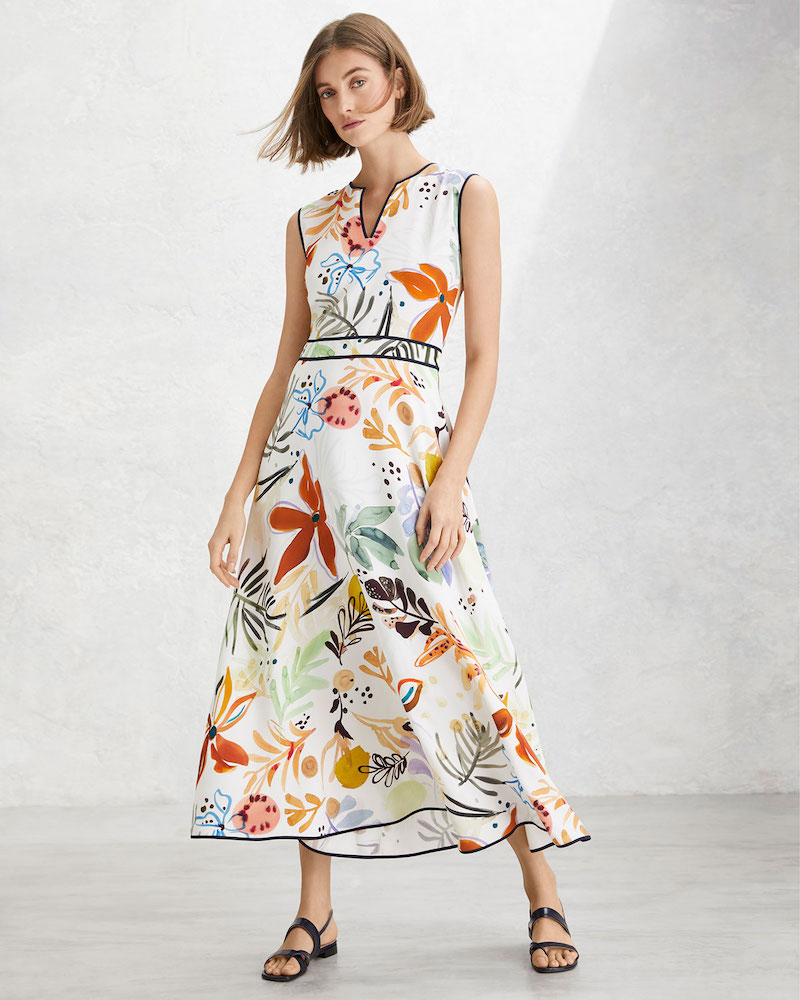 Lafayette 148 New York Janelle Fiore-Print Sleeveless Drape Cloth Midi Dress
