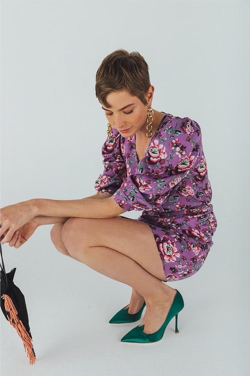Magda Butrym Floral Printed Silk Mini Dress