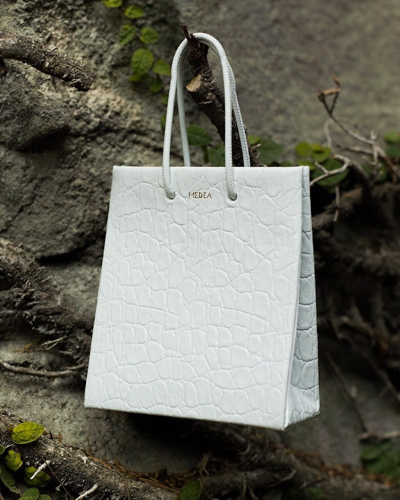 Medea Prima Short Croc Embossed Leather Bag