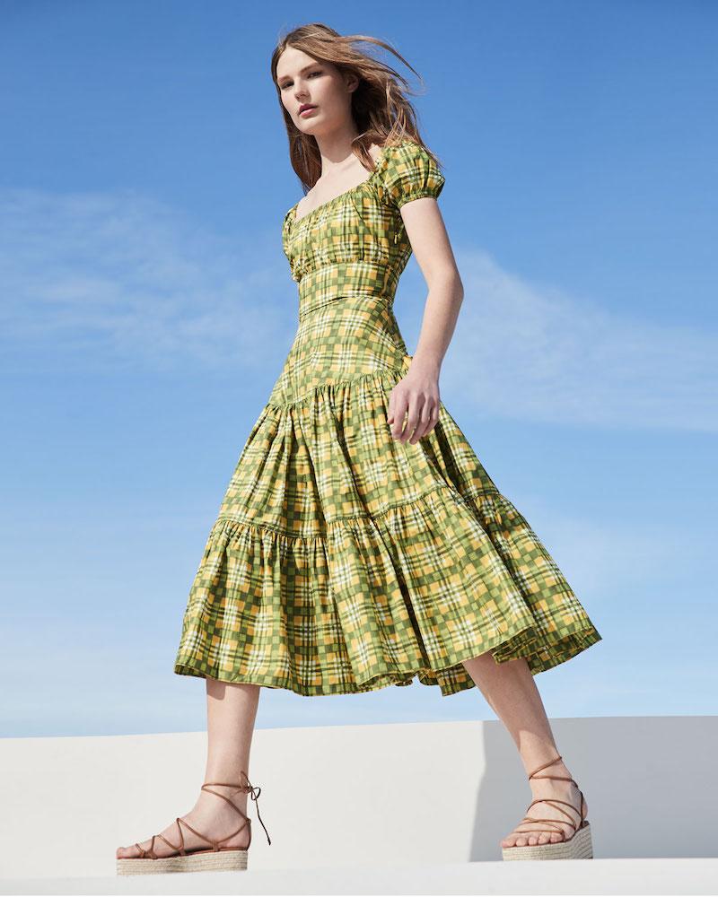 Michael Kors Collection Off-the-Shoulder Painterly Madras Poplin Dress