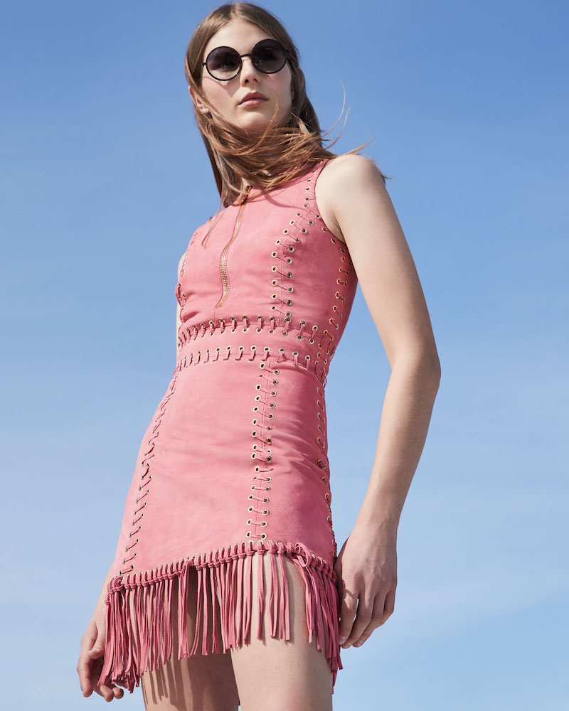Michael Kors Collection Suede Whipstitched Fringe-Trim Dress