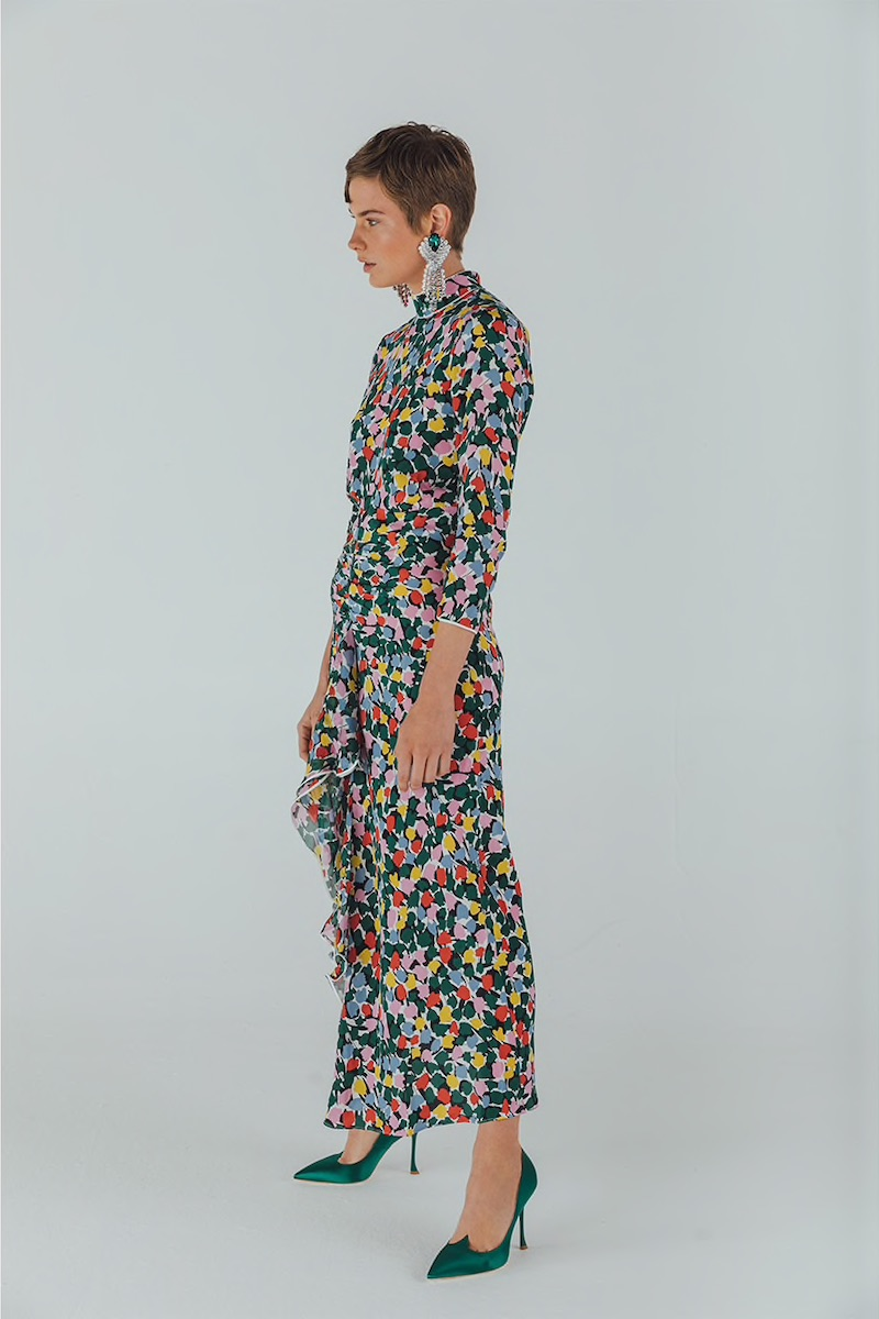 Rixo Micro Tulip Print Silk Dress